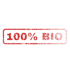 100 percent bio rubber stamp vector