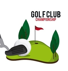 Ball and club icon golf sport design vector