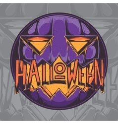 Halloween pumpkin badge vector