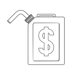 Silhouette fuel container with currency symbol vector
