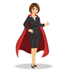 Young businesswoman wearing superhero costume vector