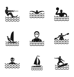 Swimming on water icons set simple style vector