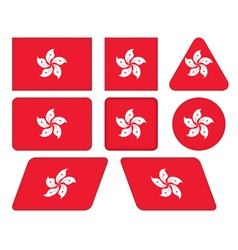 Buttons with flag of hong kong vector