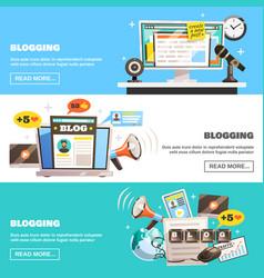 Blogging horizontal banners set vector