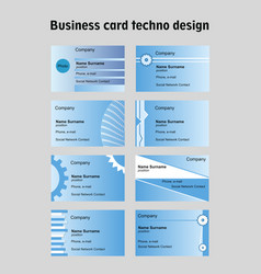 Business card set in techno design blue vector