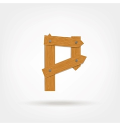 Wooden boards letter p vector