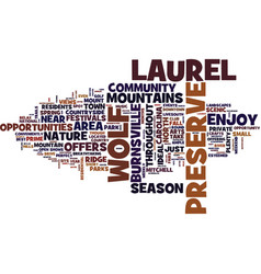The preserve at wolf laurel text background word vector