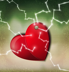 electric heart background vector image