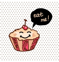 sweet cute cupcake vector image