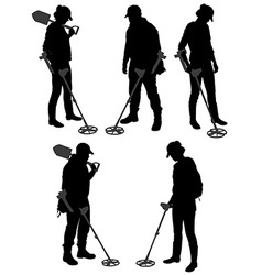 Detectorists silhouette on white background vector