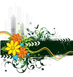 urban grunge flowers and birds vector image