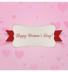 Happy womens day greeting card with ribbon vector