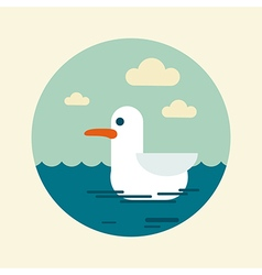 Seagull icon summer sun sea beach vector
