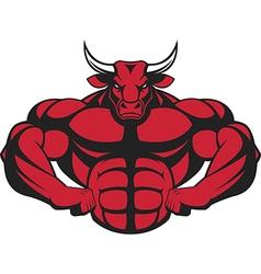 Ferocious bull with a barbell vector