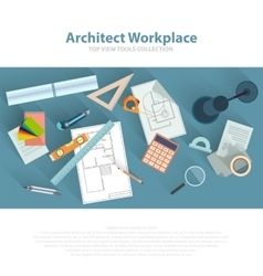 Architects workplace with architectural tools vector