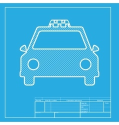 Taxi sign  white section of icon on vector