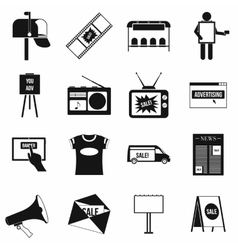 Advertisement icons setsimple style vector image