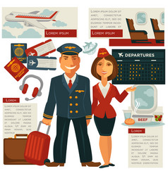 Air travel and aircraft staff or cabin crew vector