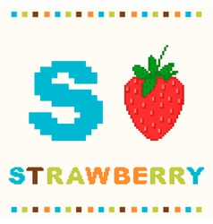 alphabet for children letter s and a strawberry vector image