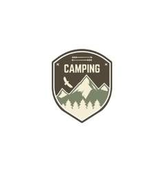 Camping label vintage mountain camp explorer vector