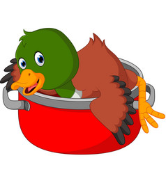Cartoon funny duck being cooked in a pan vector