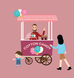 Cotton candy stall cart kids children buy vector