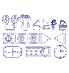 Doodle design of the things for movie marathon vector image