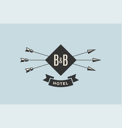 emblem of hotel with arrows vector image vector image