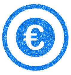 Euro coin rounded icon rubber stamp vector