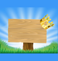 Golden crown hanging on sign vector