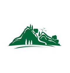 Green mountain icon vector