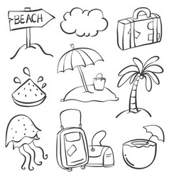 Holiday element summmer doodles vector