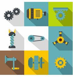 machinery gear icon set flat style vector image