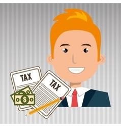 man taxes bills pencil vector image