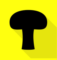 Mushroom simple sign black icon with flat style vector