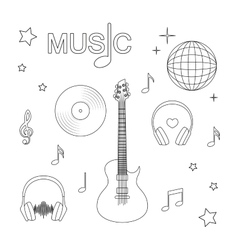 Music guitar music record headphones disco vector