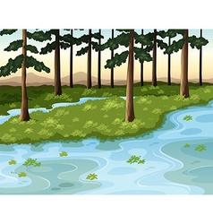 Nature scene with forest and river vector