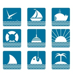 Nautical and Sea Icons Set vector image vector image