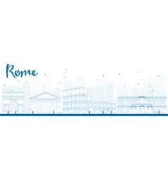 Outline rome skyline vector