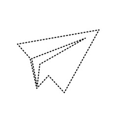 Paper airplane sign black dashed icon on vector