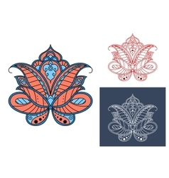 Persian paisley flower with retro ornament vector
