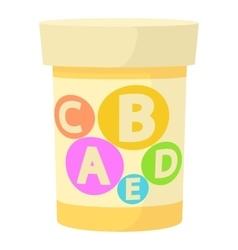 Pills vitamins icon cartoon style vector