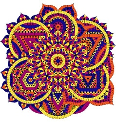 Round pattern with seven chakras vector