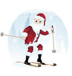 Santa Claus on skis vector image