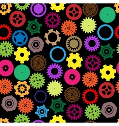 Seamless gear and cogwheel retro color vector image
