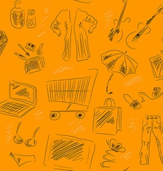Seamless Patterned Background with Shopping Icons vector image