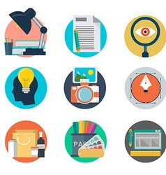 Set of flat design style concept icons for graphic vector image vector image