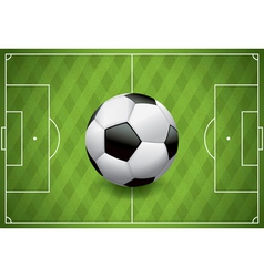 Soccer football on realistic textured field vector