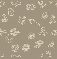 Spice seamless pattern in brown colour vector