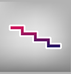 Stair down sign purple gradient icon on vector